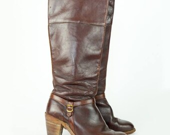 FRYE Riding Boots Leather Stacked Heel WOMENS 7