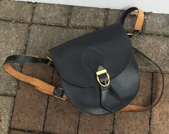 Black Leather Saddlebag Handbag Satchel Purse Vintage