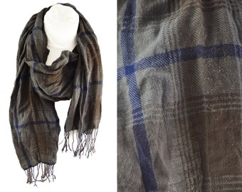 SALE, Vintage Scarf Blue and Brown Check Pattern