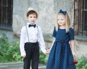 SALE Blue girl dress - Linen girl dress - Polka dot toddler girl dress - Navy blue baby girl dress - Summer girl dress - Flower girl dress