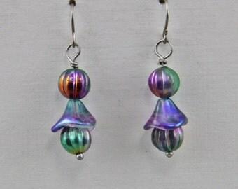 Handmade Art  Glass Czech Glass Iridescent Beads Dangle Earrings