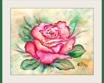 Watercolor Pink Rose by Colorado Artist Martha Kisling