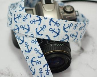 Anchor Camera Strap - Navy Blue Anchors on Baby Blue - Nautical Camera Strap - Summer Camera Strap - Canon Camera Strap - Nikon Camera Strap