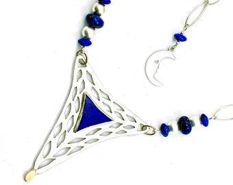 Sterling Silver Blue Lapis Gemstone Necklace Lazuli Chain Jewelry 14K & 18k Gold Accents