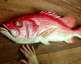 """Red Snapper 36"""" chainsaw wooden taxidermy carving reef saltwater game fish indoor outdoor rustic home wall mount art realistic sculpture"""