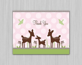 Willow Deer Family/Pink/Fawn/Woodland/Nature Printable Baby Shower Thank You Card U Print Yourself