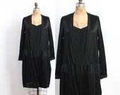 Vintage 20s DRESS / 1920s Lace Trim Black Crepe & Satin Drop Waist Flapper Dress M