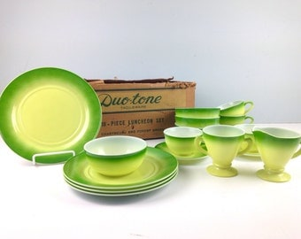 Vintage Duo Tone Tableware, 18 Piece Luncheon Set by Hazel Atlas, 1950s Plate, Teacup and Saucer, Bowl, Creamer, Sugar, Dinnerware Set