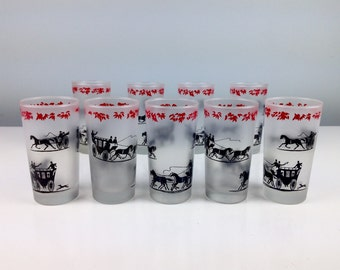 Vintage White Frosted Glasses with Horse and Buggy Design /  Set of Nine /  Mid Century Modern Barware Drinking Glass / Kentucky Derby