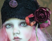 Black Felt Cloche Style Flapper Hat With Roses and Antique Button