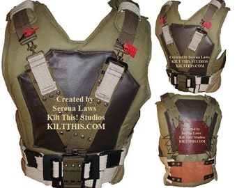 The 10oz Canvas Military Vest with Belt by Kilt This - Adjustable - Interchange Parts - Custom - Collect