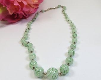 1930s Peppermint Swirl Venetian Glass Bead Necklace, Vintage Bead Necklace, Vintage Mint Green Venetian Murano Glass Bead Necklace