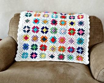 Granny Square Afghan,  Retro Style Crochet, Baby Blanket, Multi Color Nursery Decor, Crocheted Throw
