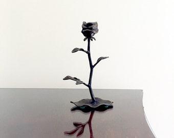 Long Stem Rose Shaped Candle Holder Bronze Color Metal Single Taper Candlestick Vintage Romantic Home Decor Unique Gift Idea Under 30 Dollar