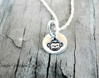 Monkey Necklace - Monkey Jewelry- Hand Stamped Necklace- Silver Monkey