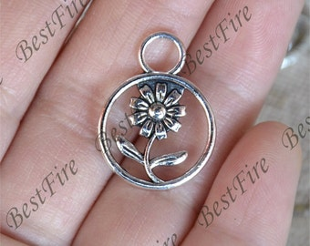 15 pcs of Antique Silver charming flower pendant,flower metal finding 17x23mm,flower findings beads,flower pendant beads findings