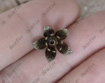 10 pcs Earring Stud Bezels Flower Antique bronze Tone,Blank Bezel earring stud,earring findings