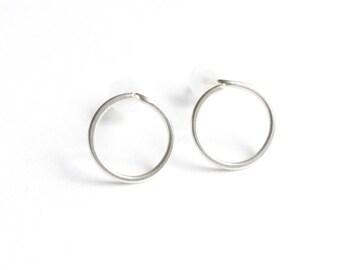 Silver Hoop Earrings, Sterling Circle Stud Earrings, Minimal Handmade Post Earrings, Under 15