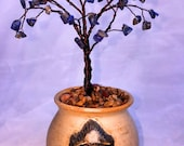 Bonsai WireTree Sculpture with Blue Chip Stone in Hindu Face Pot