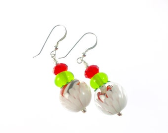 Lampwork Earrings, Statement Glass Bead Earrings, Red Green White Earrings, Holiday Glass Bead Jewelry, Lampwork Jewelry, Holiday Earrings