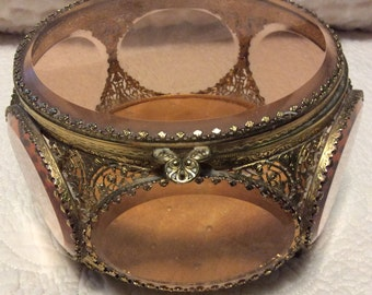 FALL SALE Rare Vintage Extra Large Gold and Peach Jewelry Casket Ormolu 6 Sided Beveled Glass Footed