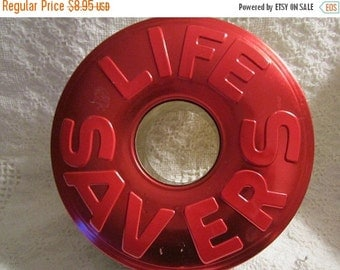 20% SALE Vintage Christmas LIFE SAVERS Tin Container Red Green Unique Collectible
