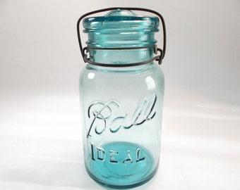 1950s Ball Jar with Glass Lid Mason Canning Jar Ball Ideal #4 Farmhouse Decor