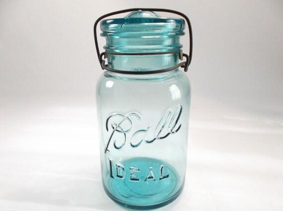 1950s Ball Jar With Glass Lid Mason Canning Jar Ball Ideal 4