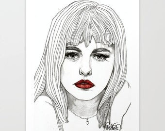 Patsy with Red Lips - Original Drawing Art Illustration Paul Nelson-Esch Fashion Home Decor Pencil Modern Free Worlwide Shipping