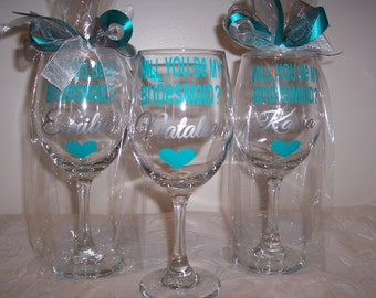 Personalized STEMMED Wine Glasses, Will you be My Bridesmaid Wine Glass, Be My Maid of Honor Wine Glass, Bridal Party Glasses, Gift Wrapped