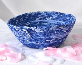 RESERVED for LRC..... Custom Order for LRC. Handmade Blue Key Holder, Winter Blue Bowl, Lovely Blue Cotton Fiber Bowl