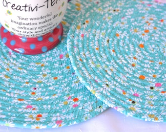 Bridal Shower Gift, 2 Table Mats, Handmade Fabric Hot Pads, 2 Kitchen Mug Rugs, Trivets, Pretty Table Toppers, Coiled Potholders