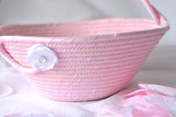 Flower Girl Basket, Artisan Coiled bowl, Handmade Quilted Wedding Card Basket,  Pink Wedding Decor, Bridal Shower Gift, Gift Basket,