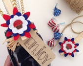 4th Of July (Set of 2) Felt Flower Clothespins  -  Americana, Party Decor, Clips, Party Tags, Military Gifts, Picnics, Veterans, Gift Wrap