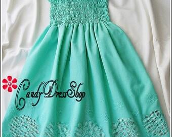 Mint green beach flower girl dress, Beach wedding flower girl dress, Mint green dress for girls, Green party dress, Mint green eyelet dress,