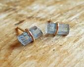 Aquamarine Earrings Gift for Women Blue Aquamarine Crystal March Birthstone 14K Gold Studs Stud Earring Rough Raw Gemstone Womens Wife Gift