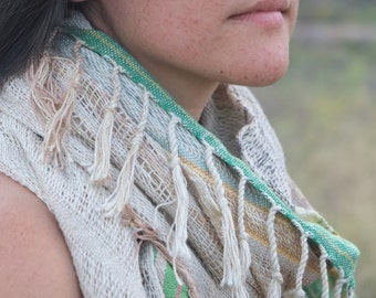 Grassy Greens Handwoven Etherial Scarf - Soft & Simple Organic Cotton Linen