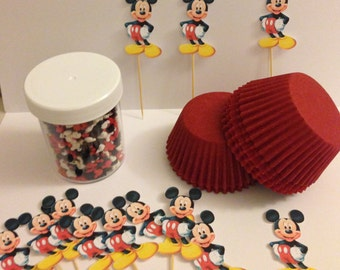 MICKEY MOUSE Cupcake Kit sprinkles liners toppers Birthday makes 36 cupcakes