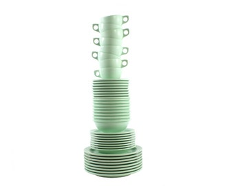 Set of Melmac Dishes in Jadeite Green - Service for 8