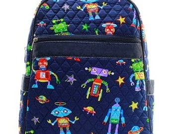Personalized Boys Quilted  Backpack   ROBOT Backpack  Boys Bookbag  Preschool backpack