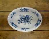 Woods Burslem England Blue White Floral Caronia Oval Shaped Serving Vegetable Bowl