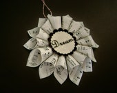 recycled hymnal sheet music Christmas ornament rolled paper cones rosette wreath star tag