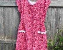 Prairie Dress - Red and White Skull Goth Dress - Cotton