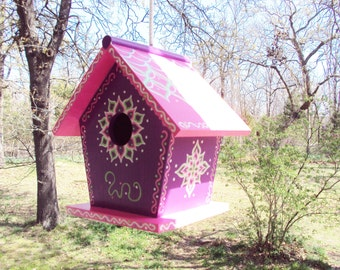 Whimsical Birdhouse/Purple and Pink Birdhouse/ Handpainted Floral Designs/Doodles and Dots/Rope Attached
