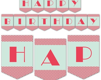 Retro 1950's Diner Themed Party Banner - Happy Birthday Banner - Instant Download - Print Your Own