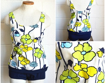 60s 2 Piece Swimwear Blue and Green Retro Mod Floral Print 2 Piece 1960s Bathing Suit Tankini Navy Blue Bottoms Built In Bra 36B