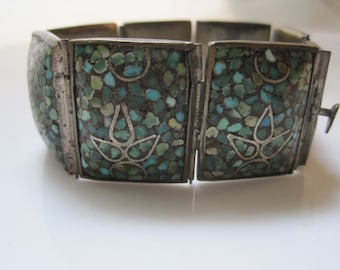 Crushed Turquoise Ethnic Panel Bracelet from the Middle East