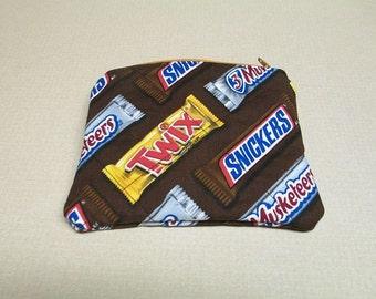 Candy bar coin purse, Candy bar change purse, Novelty coin purse, Fabric zippered pouch