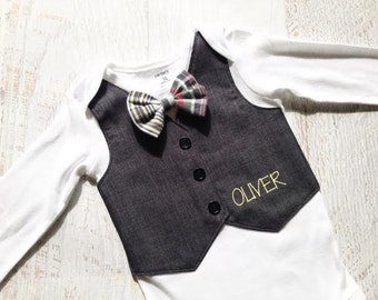 Baby Boy Personalized Grey Striped Tuxedo Bodysuit Vest with Removable Plaid Bow Tie