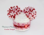 Newborn Girl Valentine Hat, Baby Girl Photo Prop, Crochet Pom Pom Hat, Photography Prop, Valentines Day, Hat with Heart, Pink, Infant